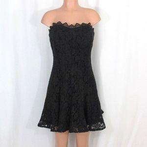 Suzi Chin Maggy Boutique Black Eyelet Lace Dress